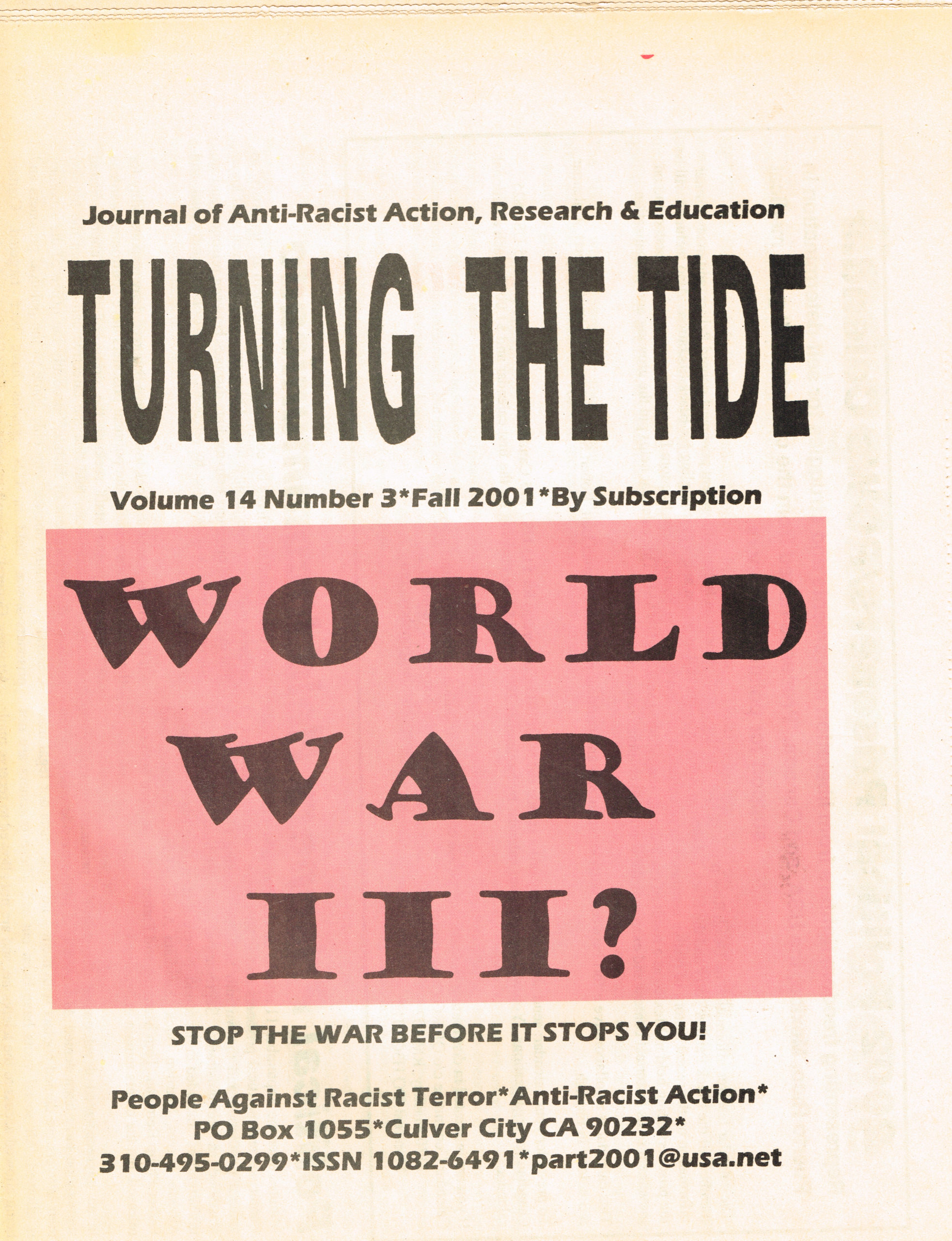 TTT, Volume 14, #3 Fall 2001