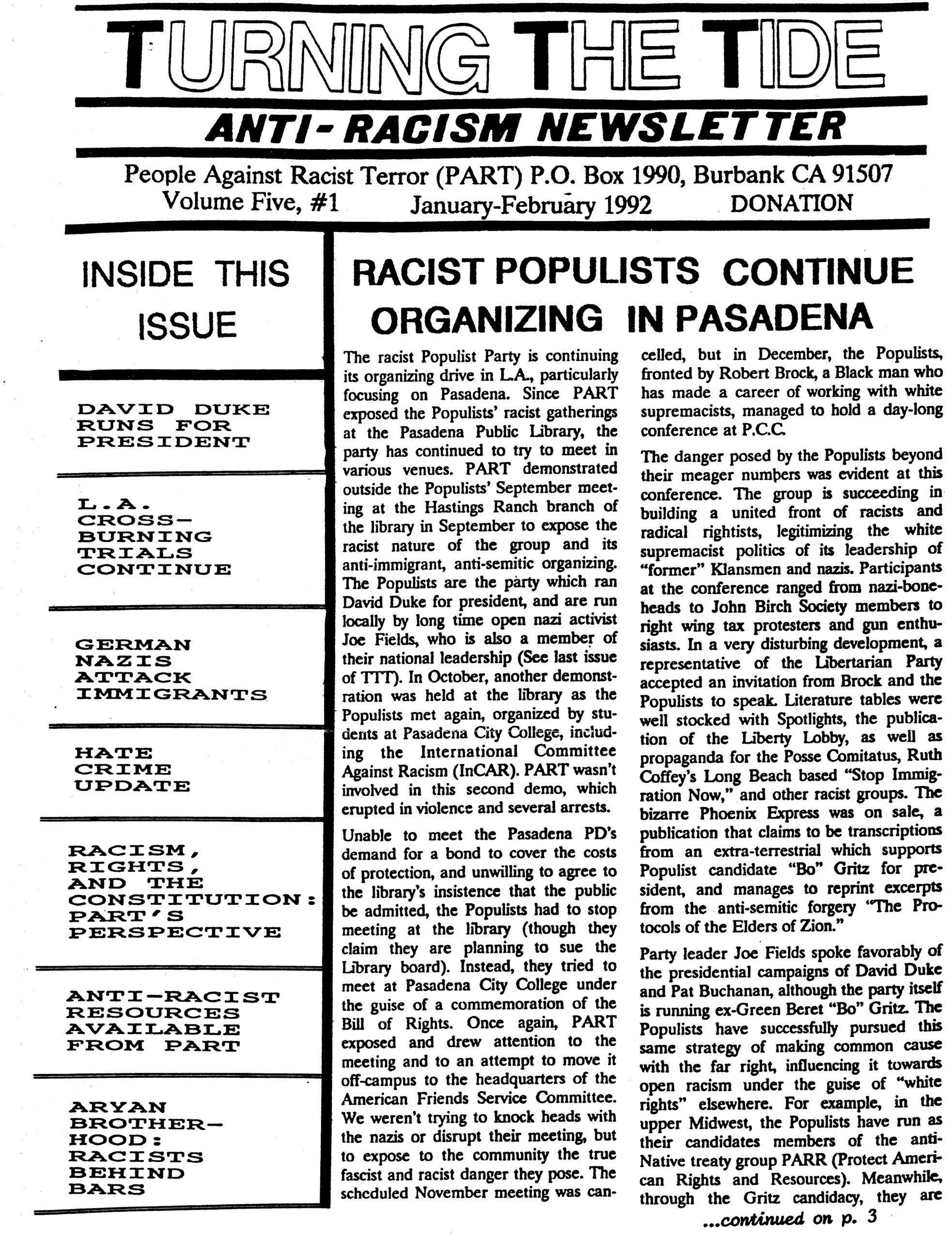TTT Vol. 5 #1, Jan-Feb. 1992